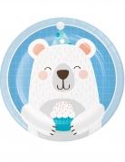 8 Petites assiettes en carton Petit Ours Blanc 18 cm