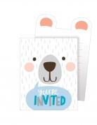 8 Cartons d'invitation en carton Petit Ours Blanc 15,2 x 10,2 cm