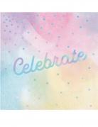 16 Serviettes en papier Celebrate multicolores iridescentes 33 x 33 cm