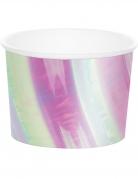 6 Pots en carton iridescents 266 ml