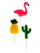 6 Bougies Ananas, Flamant rose et Cactus 3D 3-5 cm