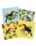 20 Serviettes en papier Toucan jaune et bleu 33 x 33 cm