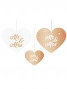 5 Suspensions coeurs en carton Mr & Mrs rose gold et blanc