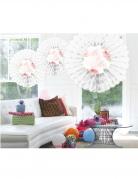 Éventail en papier Mr & Mrs blanc floral 25 x 19 cm