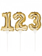 Pic à gâteau gonflable chiffre doré 22 cm