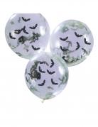 5 Ballons transparents avec confettis chauve souris 30 cm