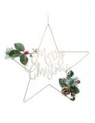 Suspension en métal étoile Merry Christmas dorée 32 cm