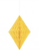 Losange en papier alvéolé jaune 35 cm
