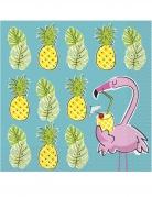16 Serviettes en papier Summer Ananas & Flamant 33 x 33 cm
