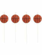 4 Bougies Ballon de basket 7,6 cm