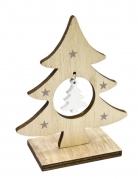 Décoration en bois Sapin avec suspension 6,8 x 4 x 10 cm