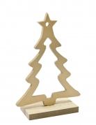 Décoration en bois Sapin sur socle doré 15 x 10,5 x 4,5 cm