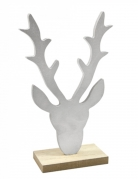 Décoration en bois Tête de renne argentée 18 x 11 x 4,5 cm