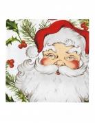 20 Serviettes en papier houx et Père Noël 33 x 33 cm