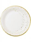 12 Assiettes en carton blanches étoiles dorées 23 cm
