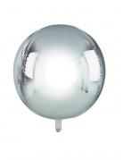 Ballon rond en aluminium argenté métallisé 38 cm
