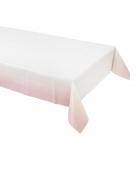 Nappe en papier rose poudré et blanc 180 x 120 cm