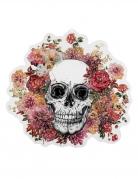 Décoration murale en plastique squelette fleuri 46 x 50 cm