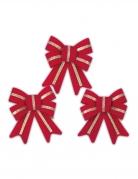 3 Noeuds en velours rouges à paillettes dorées 9 x 11 cm
