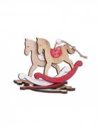 4 Chevaux à bascule en bois Joyeux Noël rouge et blanc 10,5 x 15 cm