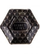 8 Assiettes en carton Bonnes Fêtes noires et dorées 23 cm
