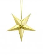 Décoration à suspendre étoile dorée en carton 30 cm