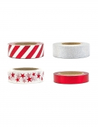4 Washi tapes blancs argentés et rouges 1,5 cm x 10 m