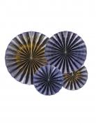 4 Rosaces décoratives en papier marine et dorées 23, 32, 40 cm