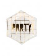 6 Petites assiettes en carton Party blanches et dorées 12,5 cm