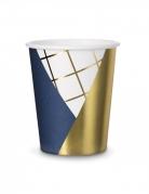 6 Gobelets en carton bleu marine, blanc et doré 260 ml