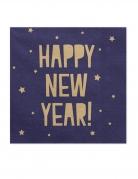 20 Serviettes en papier Happy New Year marine et dorées 33 x 33 cm