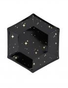 6 Assiettes en carton noires et étoiles dorées 20 cm