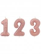 Bougie sur pique chiffre rose gold pailletée 7 cm