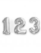 Ballon aluminium chiffre argent 35 cm