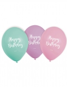 6 Ballons en latex Happy Birthday pastel 22,8 cm