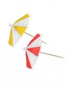 10 Parapluies de cocktail rouges et jaunes