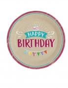 8 Assiettes en carton Happy Birthday kraft et bleues 23 cm