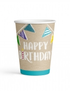 8 Gobelets en carton Happy Birthday kraft et bleus 250 ml