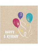 20 Serviettes en papier Happy Birthday kraft et bleues 33 x 33 cm