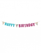 Guirlande Happy Birthday kraft et bleue 180 cm