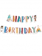 Guirlande Happy Birthday Tippie des tribus 180 cm