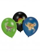 6 Ballons en latex Grands Dinosaures noir, vert et bleu 27,5 cm