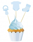 3 Cake toppers bébé bleus 20 cm