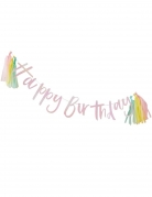 Guirlande en carton Happy Birthday iridescente avec tassels 2 m