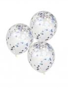 5 Ballons en latex transparents confettis iridescents 30 cm