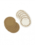 10 Cartes rondes Laissez nous un petit mot kraft et bronze 9,5 cm