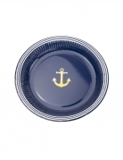 8 Assiettes en carton ancre marine et or 23 cm