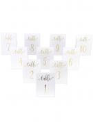 10 Marque-tables blanc dorure 1 à 10 15 x 10 cm