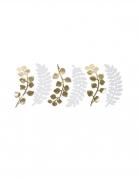 6 Feuilles fougères et eucalyptus blanches et or 30 cm