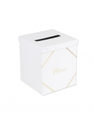 Urne Merci blanche et dorée 21 x 25 cm